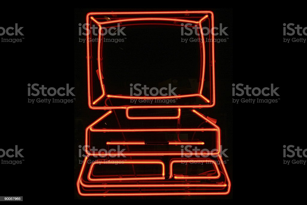Computer neon sign royalty-free stock photo
