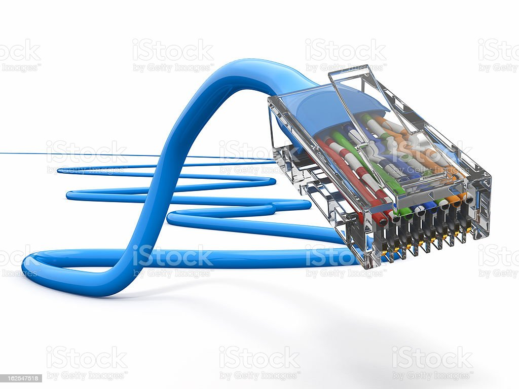 Computer network cable rj45. 3d royalty-free stock photo