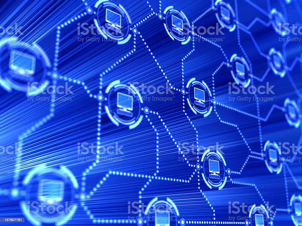 Computer network connecting a variety of computers together stock photo