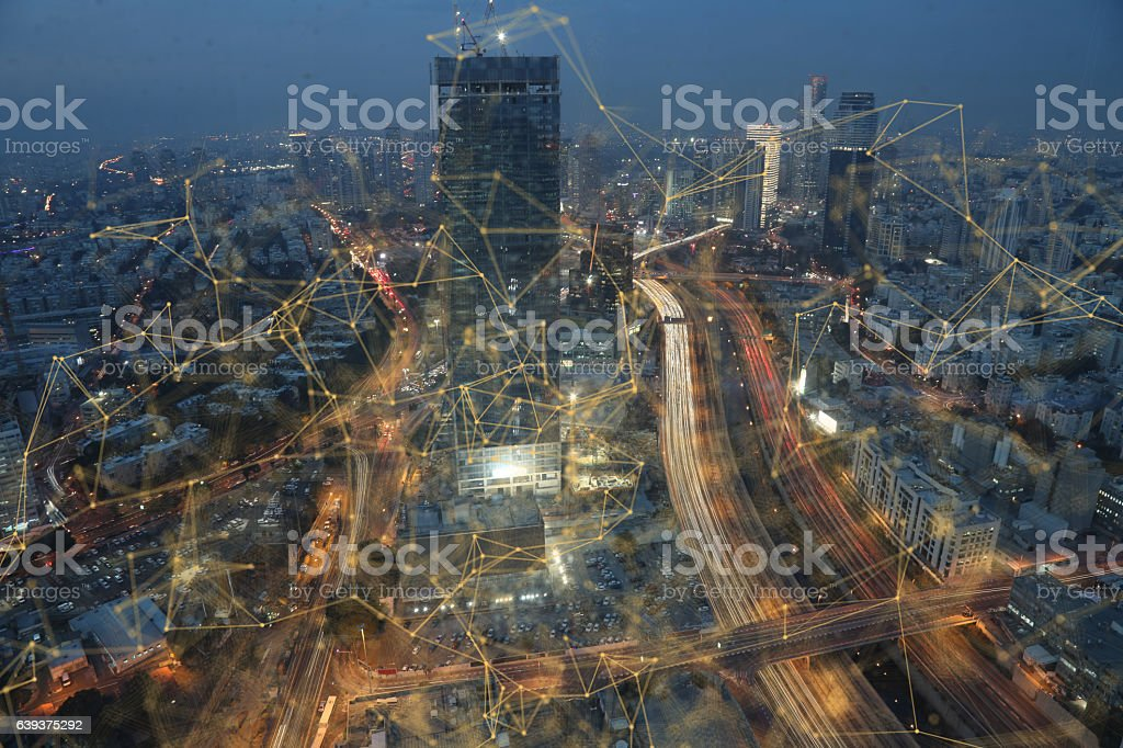 Computer network connection modern city technology stock photo