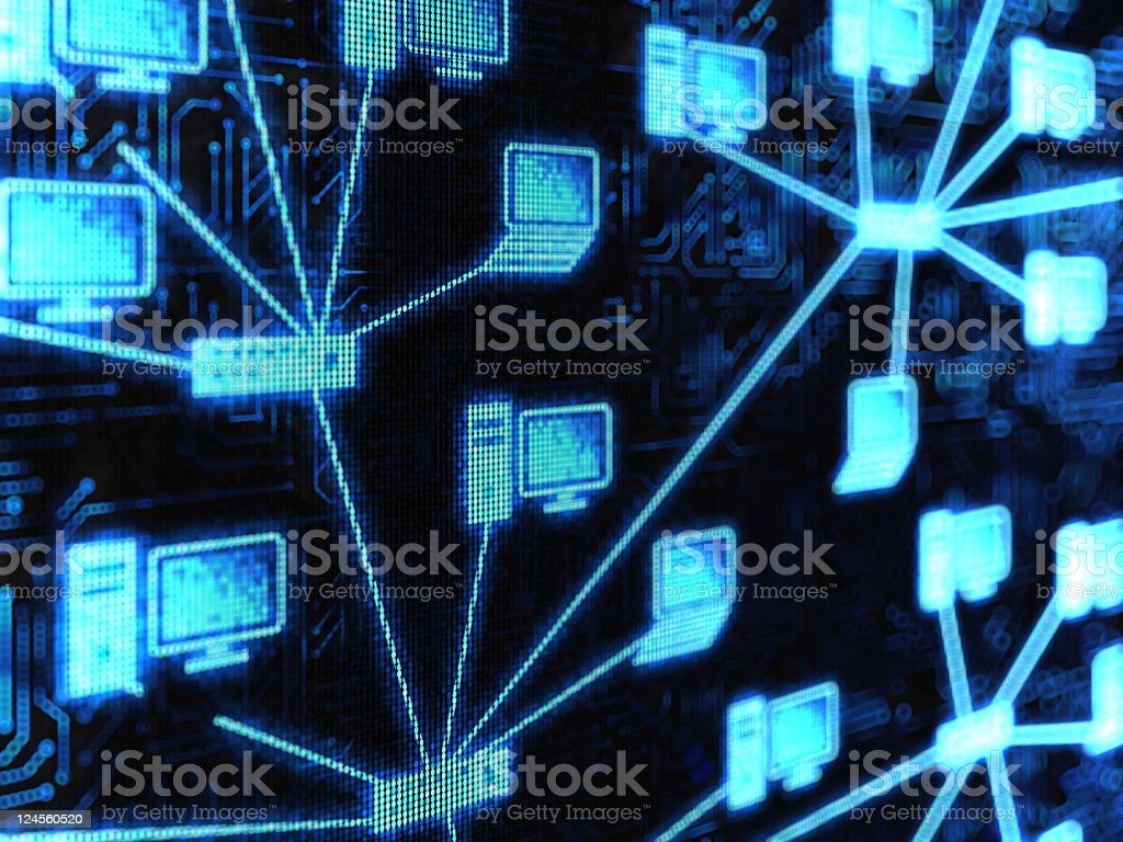 Computer network icons wired together stock photo