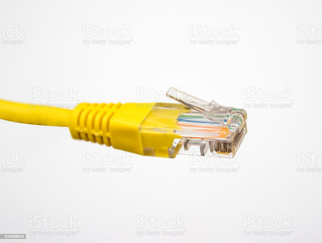 Computer network plug over white background stock photo