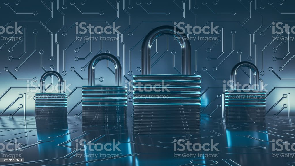 Computer network security concept.