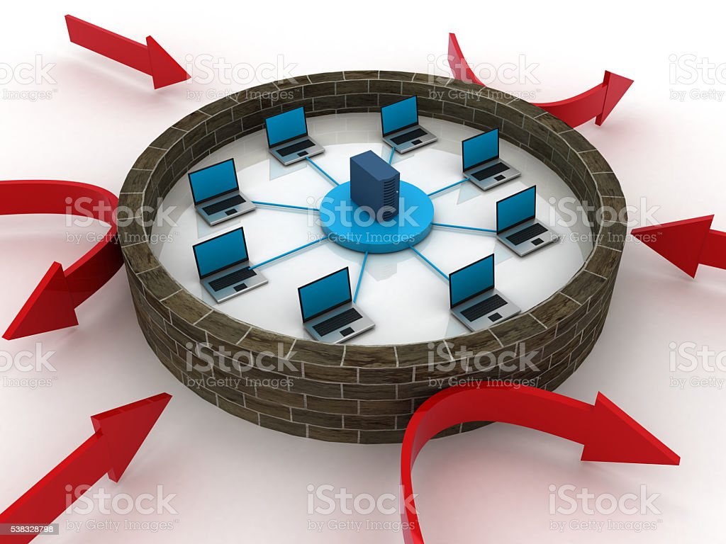 Computer network security firewall concept stock photo