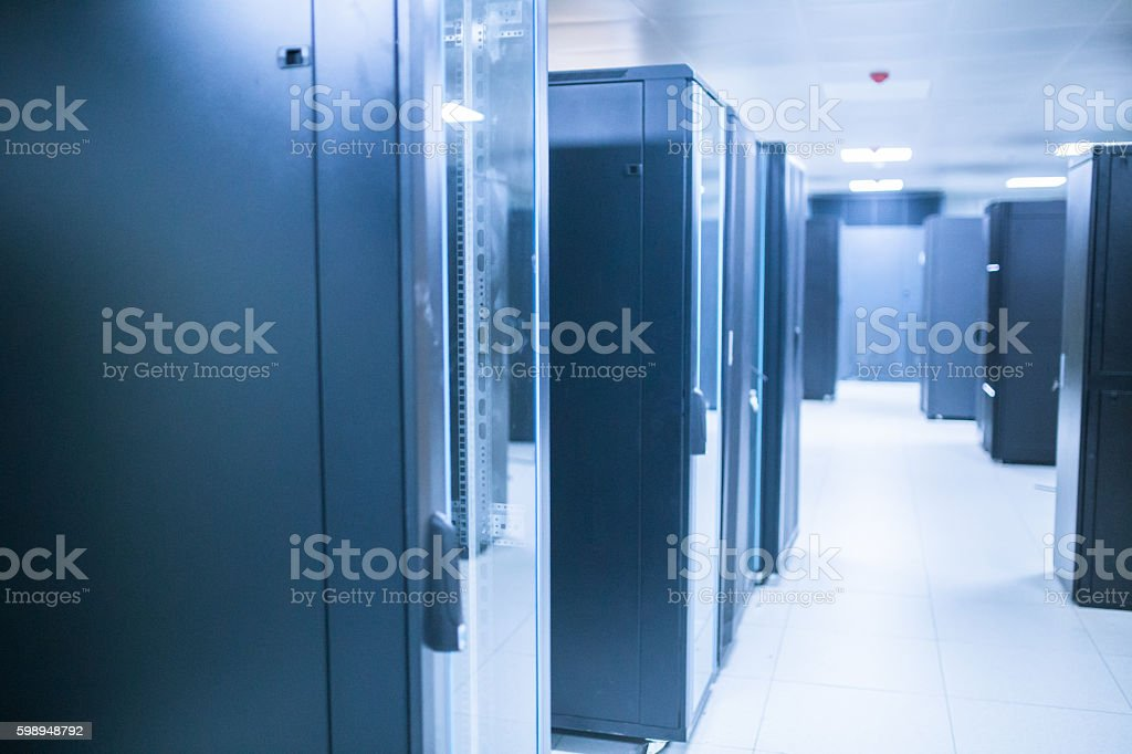 computer network server room under construction stock photo