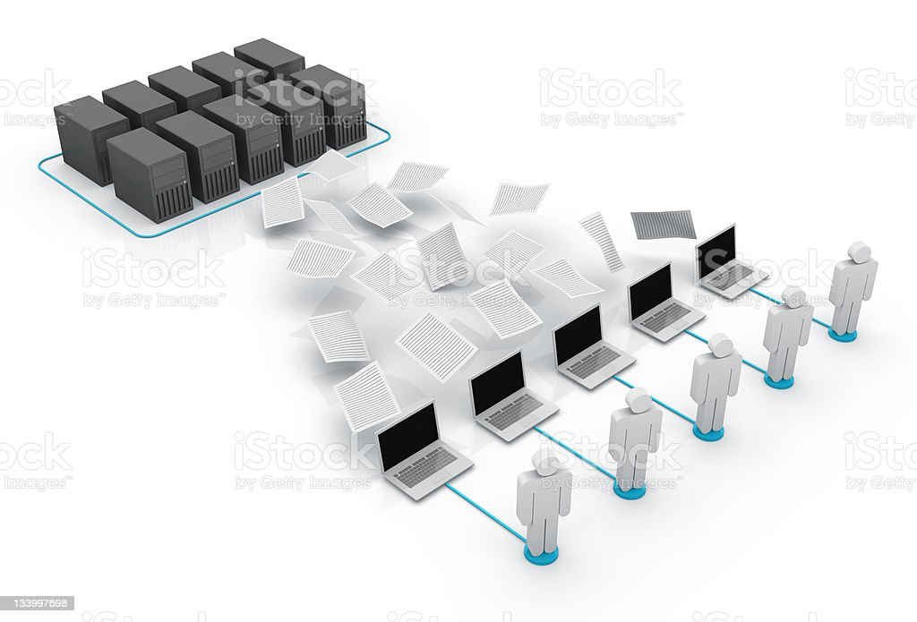A computer network with men and laptops royalty-free stock photo