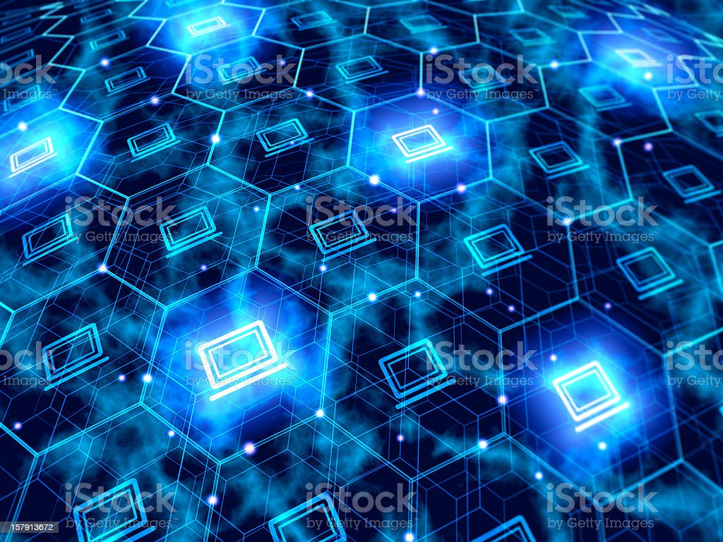 Computer networking with countless computer in hexagons royalty-free stock photo