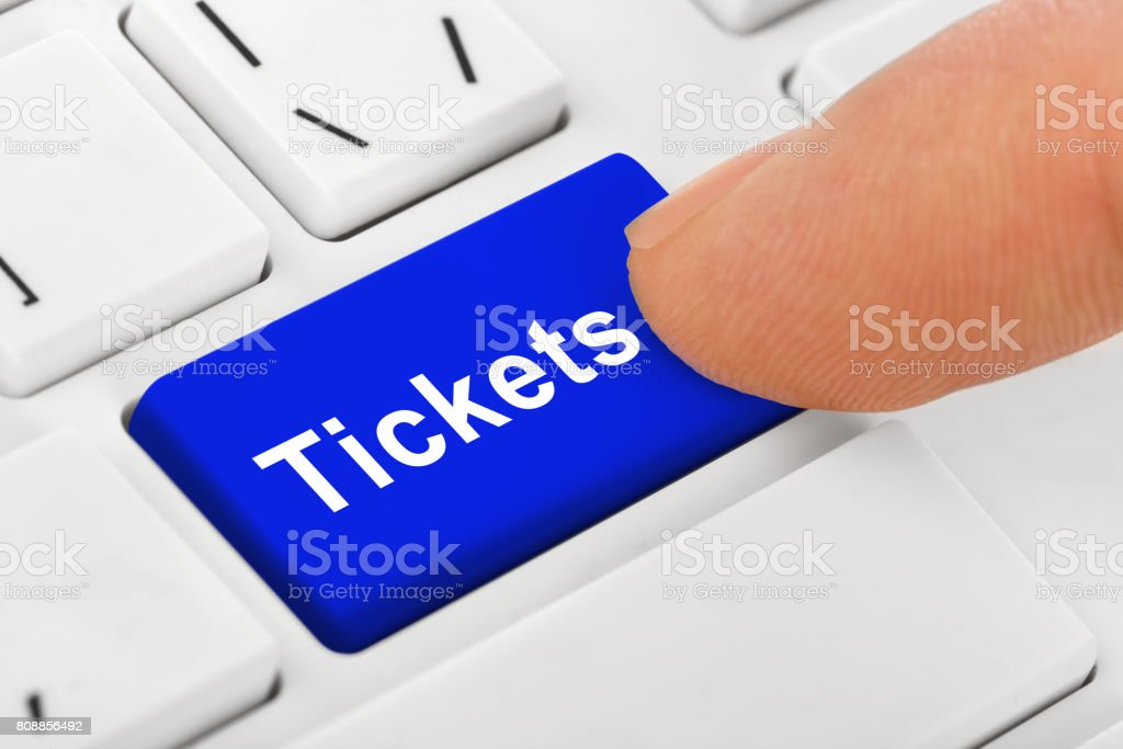 Computer notebook keyboard with Tickets key stock photo