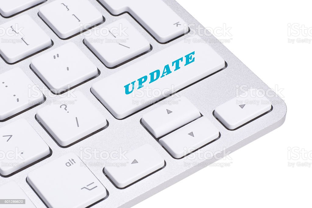 Computer notebook keyboard with Update key - technology background stock photo