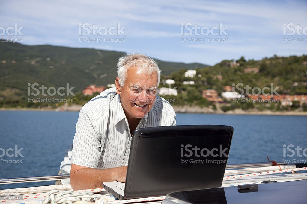Computer on boat. royalty-free stock photo