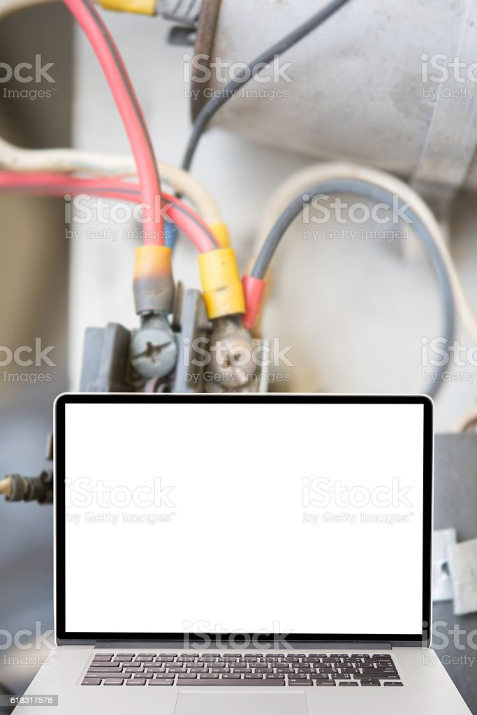 computer on detail of Air Conditioning installation equipment stock photo