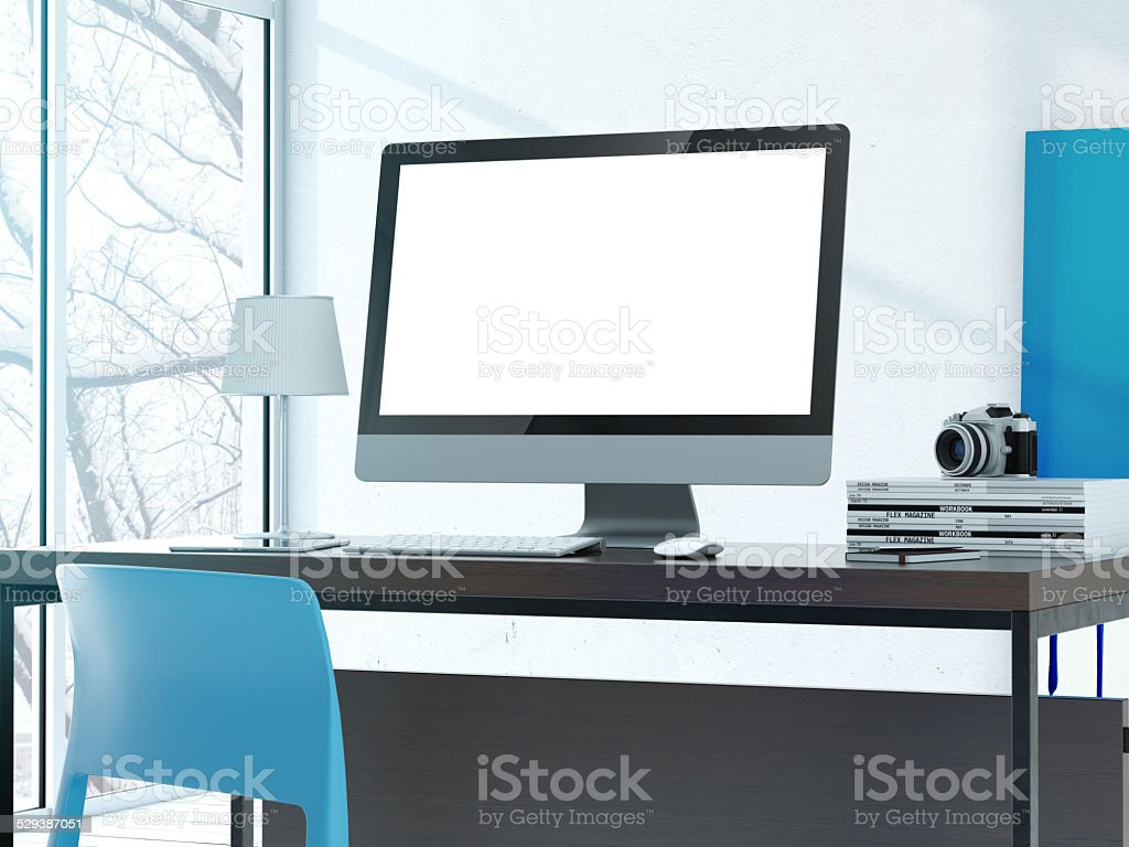 Computer on the table in modern studio stock photo