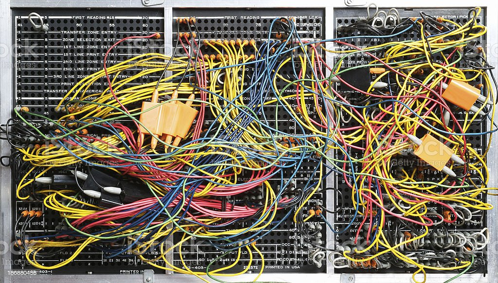 Computer Patch Board from 1960's royalty-free stock photo