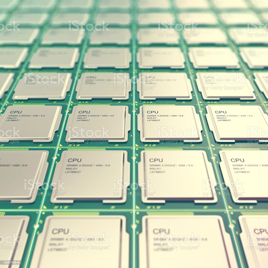 Computer PC CPU chip electronics industry concept, close-up viewmodern stock photo