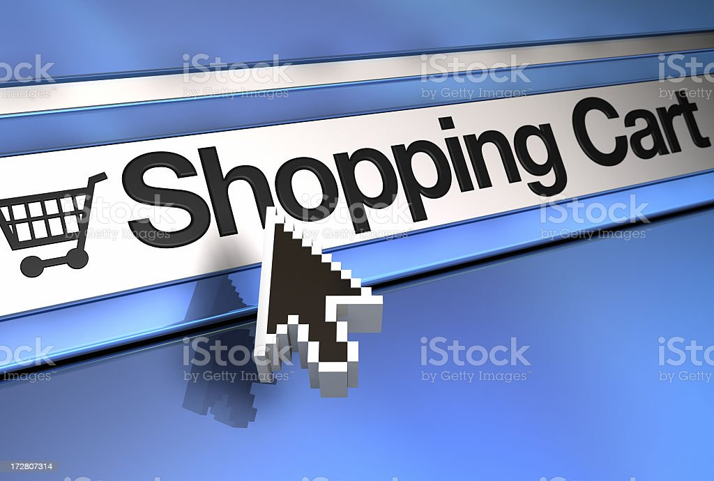 Computer pointer over shopping cart link royalty-free stock photo