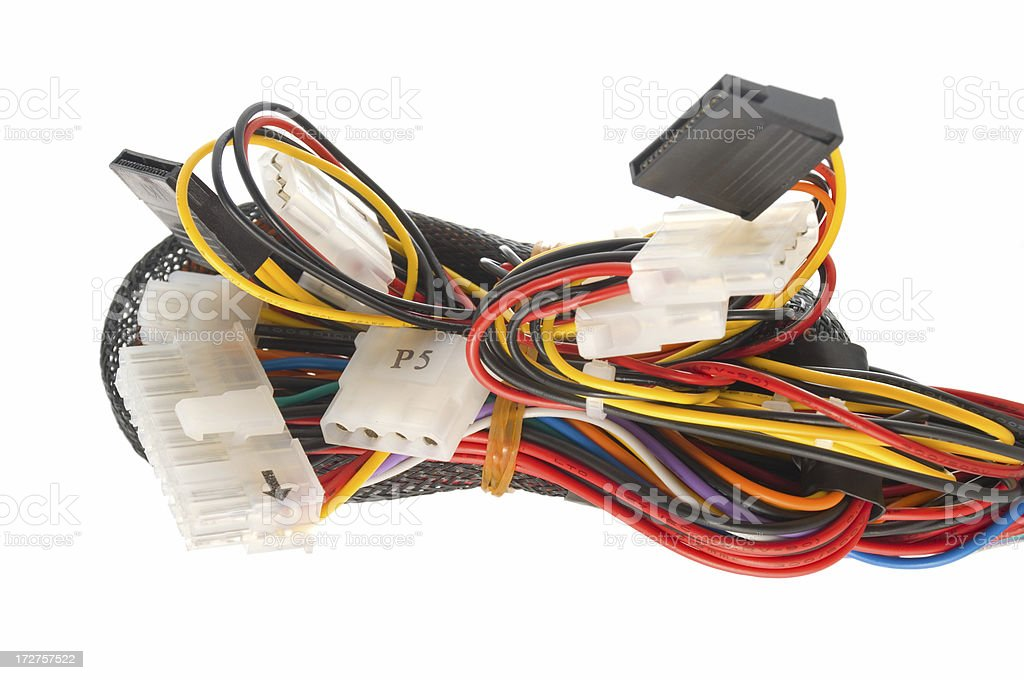 Computer Power Supply Cables stock photo