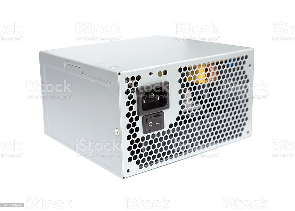 Computer Power Supply on a white background stock photo