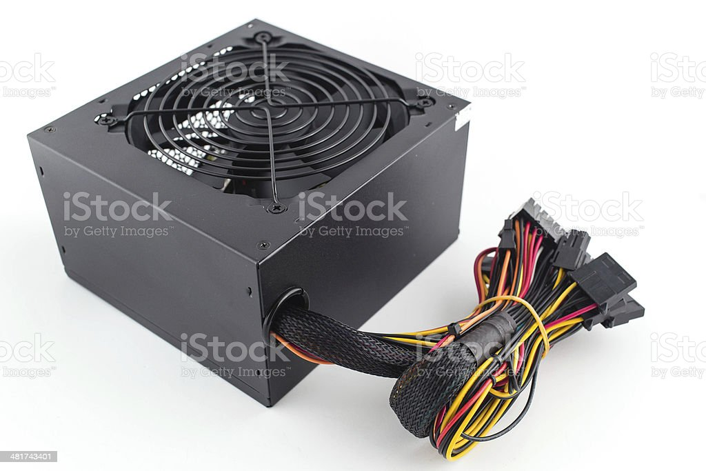 Computer Power Supply Unit Isolated On White Background stock photo