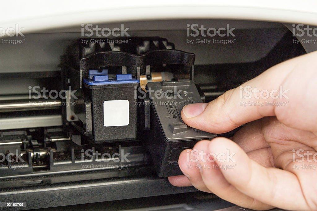 Computer printer ink cartridges stock photo