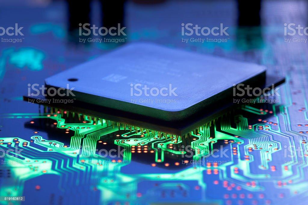 Computer processor closeup stock photo
