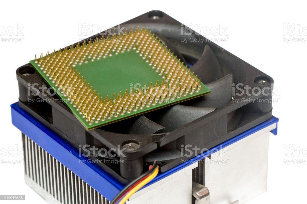 computer processor on heatsink isolated on white stock photo