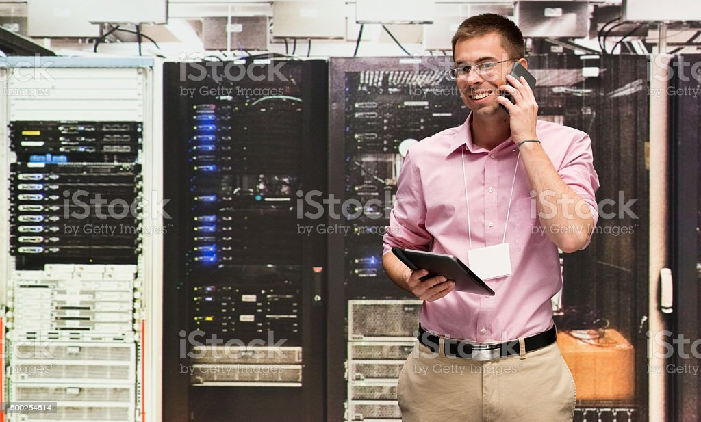 Computer programmer at data centre stock photo