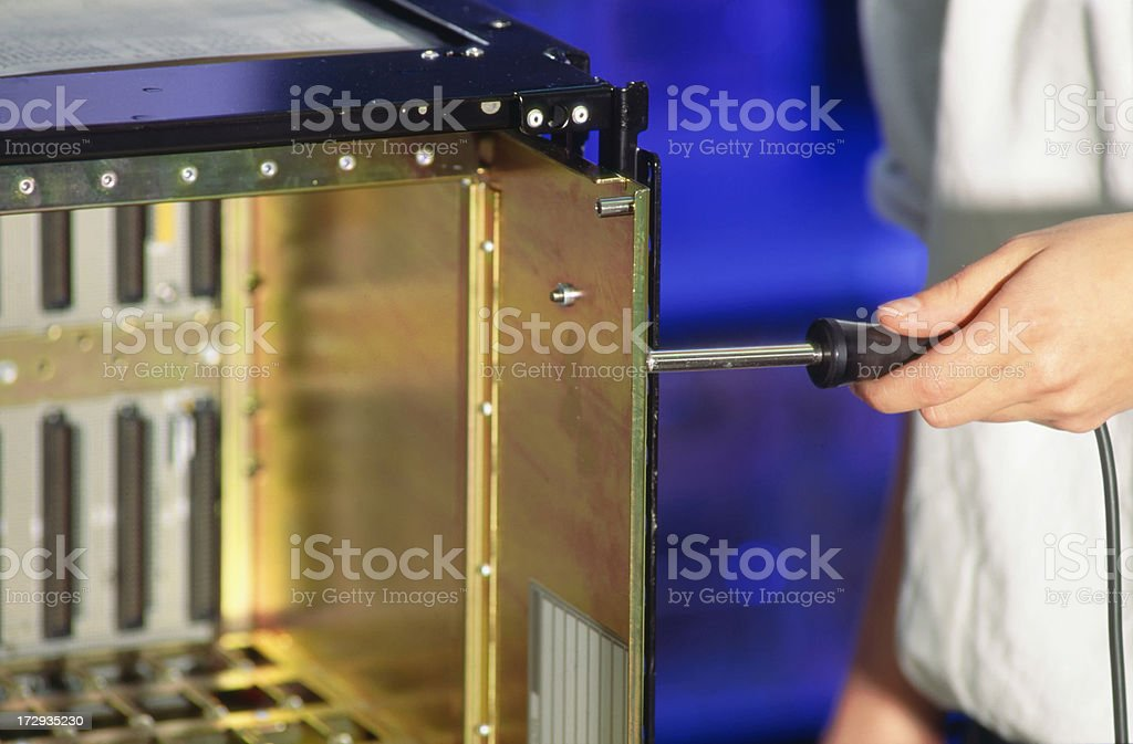 Computer rack production stock photo