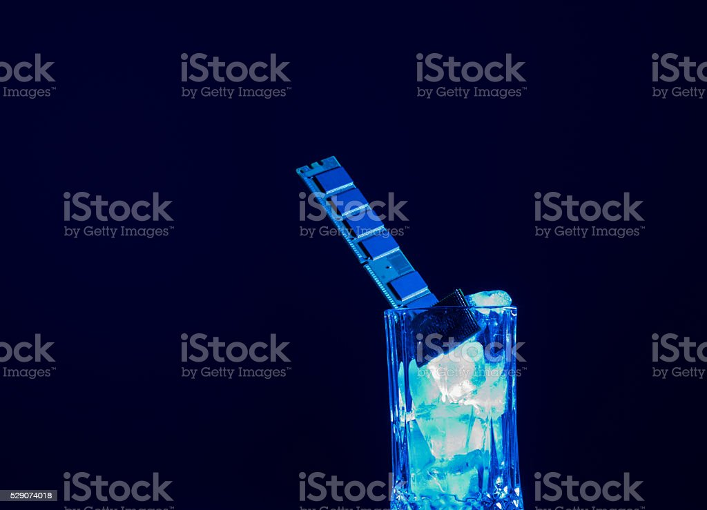 Computer RAM and CPU Chip In Flass Full OF Ice stock photo