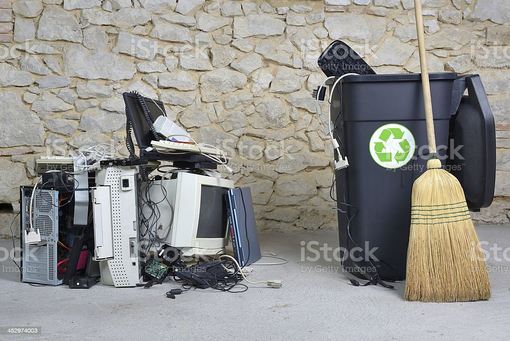 computer recycling two stock photo