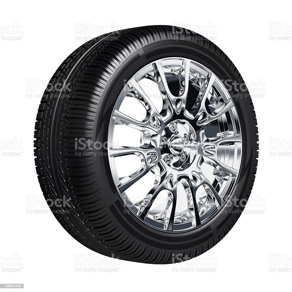 Computer rendering of a tire on chrome rims royalty-free stock photo