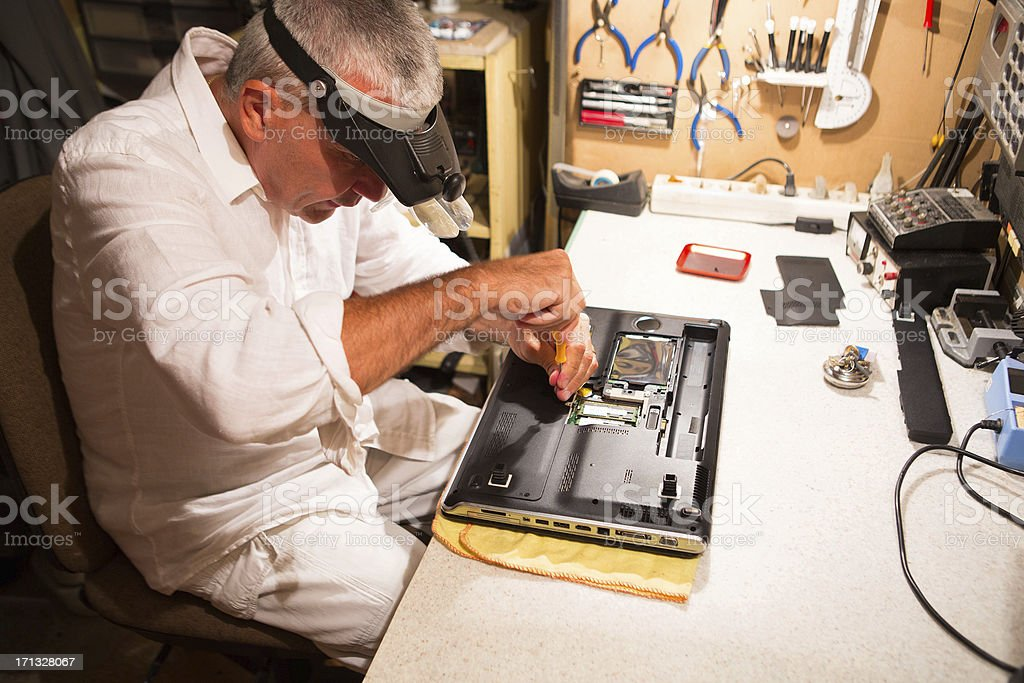 Computer repair,IT support engineer stock photo