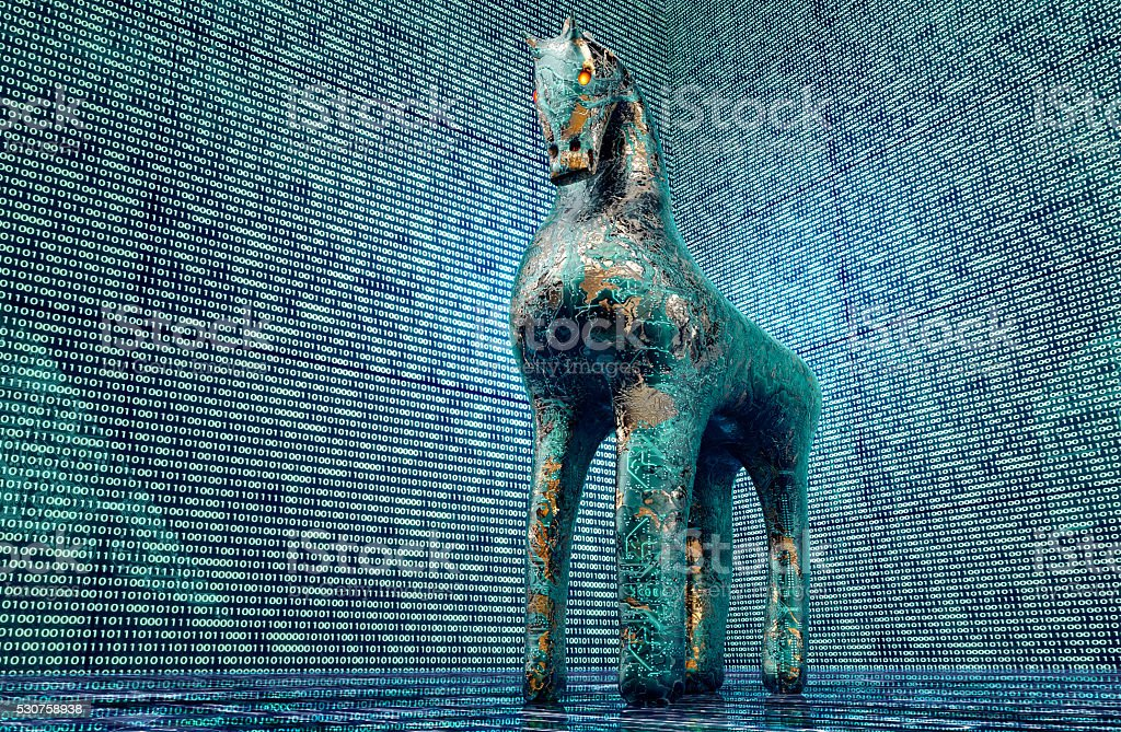 computer safety concept, trojan horse in electronic environment, stock photo