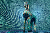 computer safety concept, trojan horse in electronic environment,