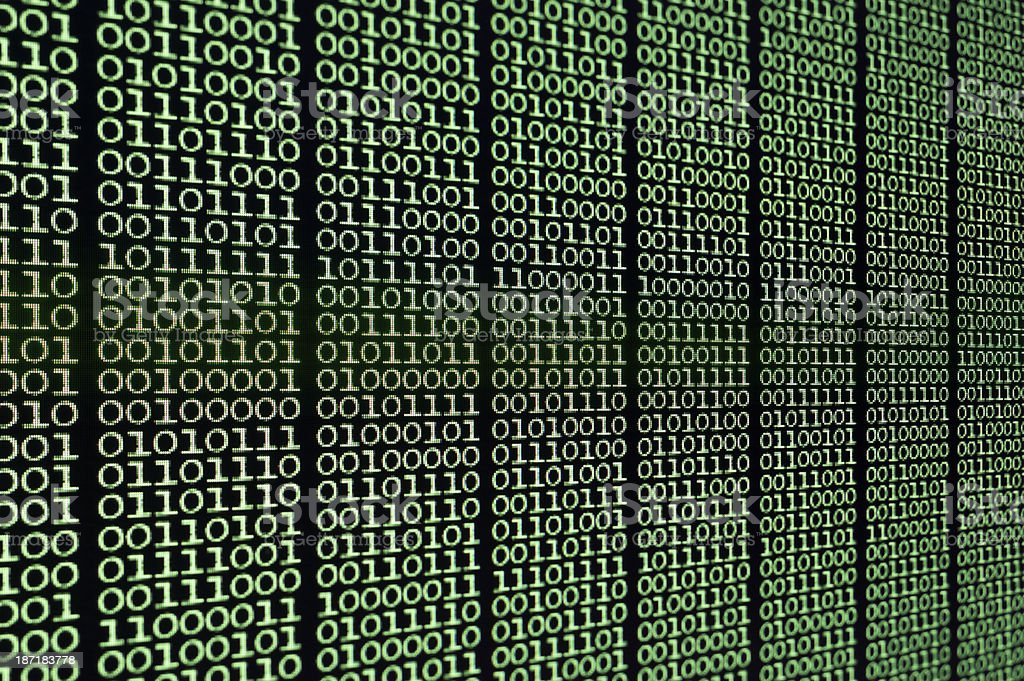 Computer Screen binary code stock photo