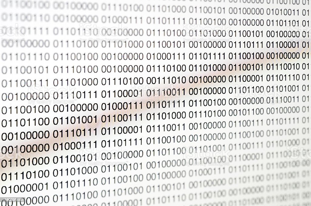 Computer Screen with binary code stock photo