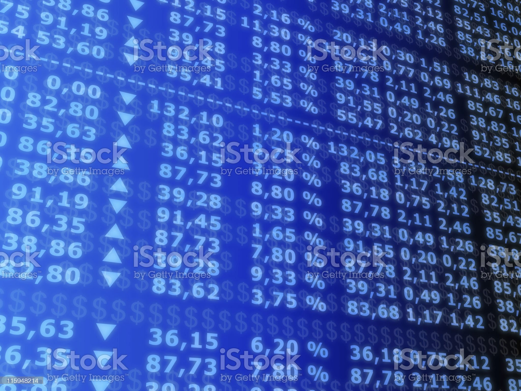Computer screen with columns of stock exchange prices royalty-free stock photo