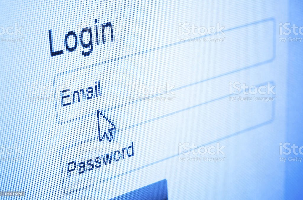 Computer screenshot requiring login information stock photo