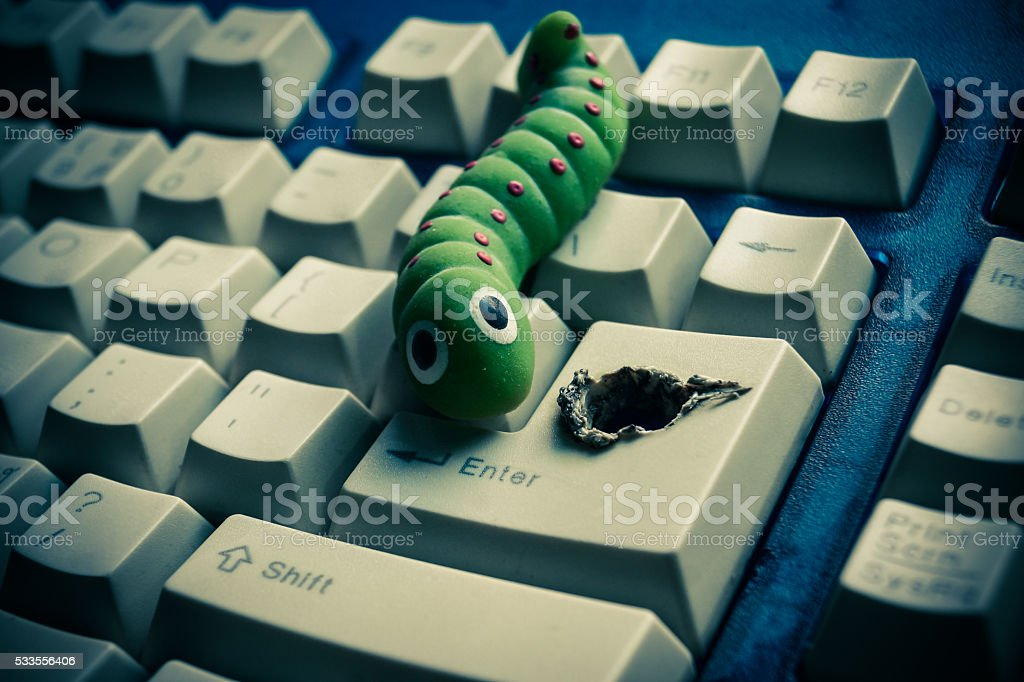 computer security breach due to worm attack stock photo