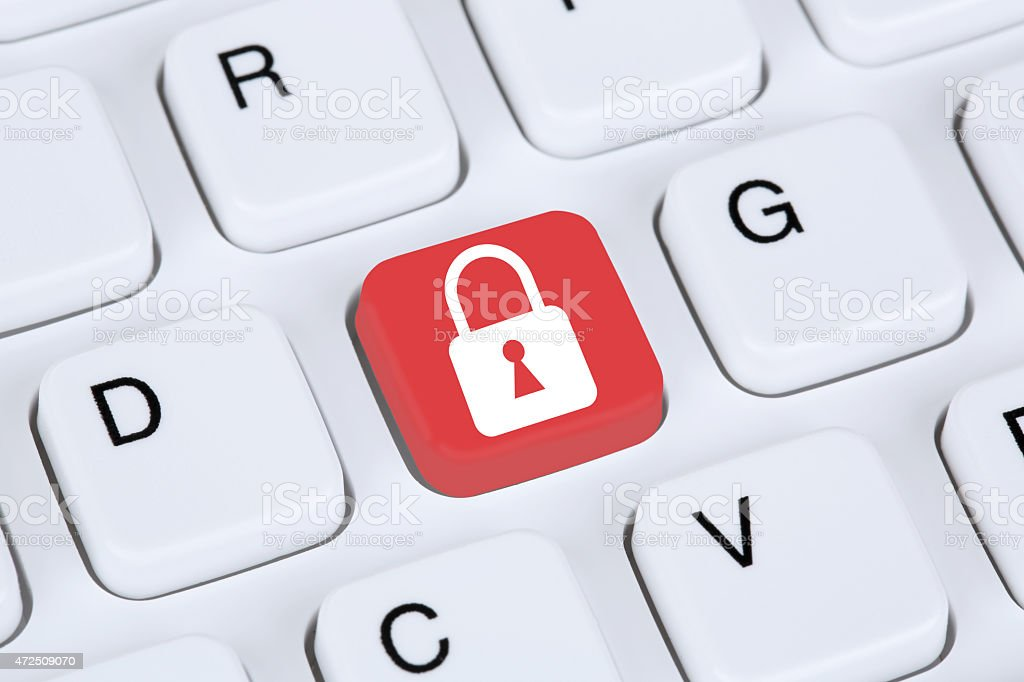 Computer security on the internet lock icon stock photo