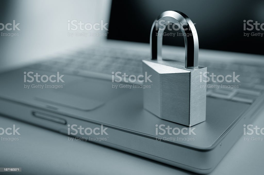 Computer Security - Padlock on Laptop royalty-free stock photo