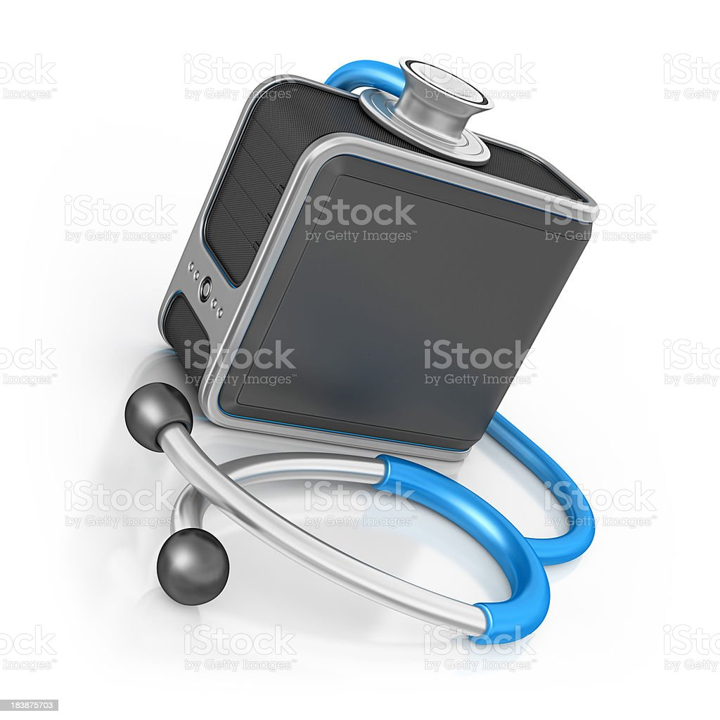 computer server and stethoscope royalty-free stock photo