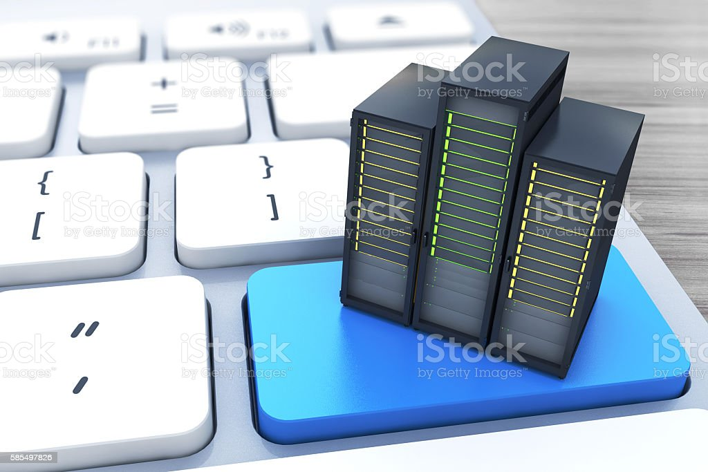 Computer server on the blue button keyboard stock photo