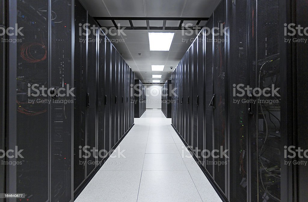 Computer server room at a data center stock photo