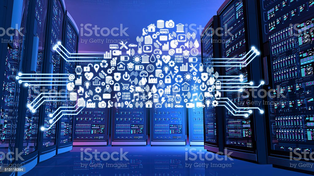 Computer servers panels with blue lights and cloud computing services stock photo
