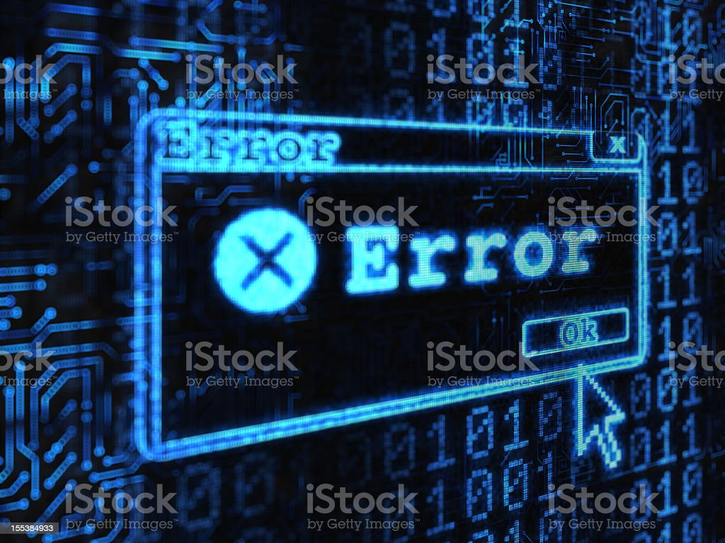 Computer showing an error message stock photo