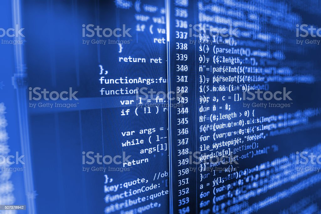 Computer source code programmer script developer. stock photo