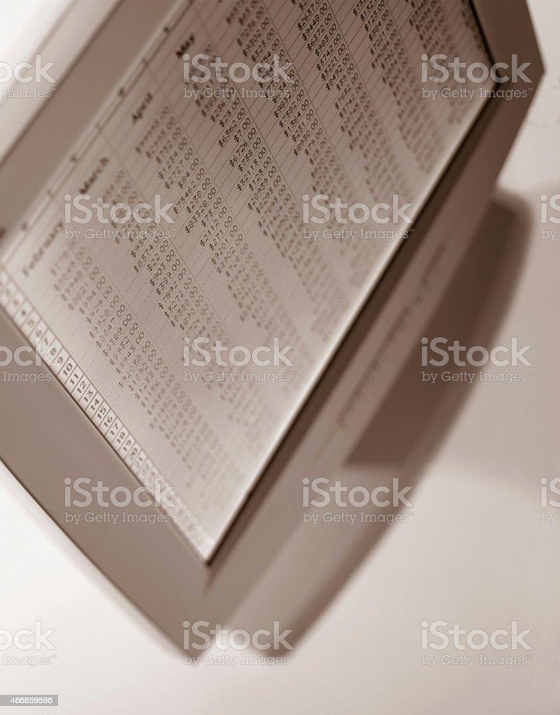 Computer Spreadsheet stock photo