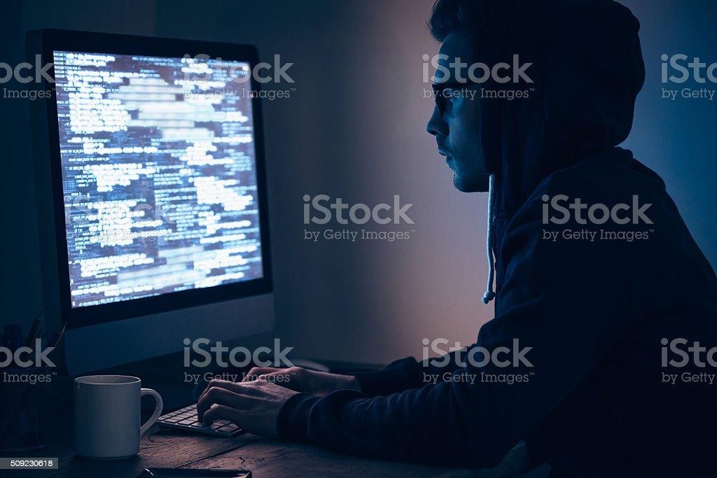 Computer spy. stock photo