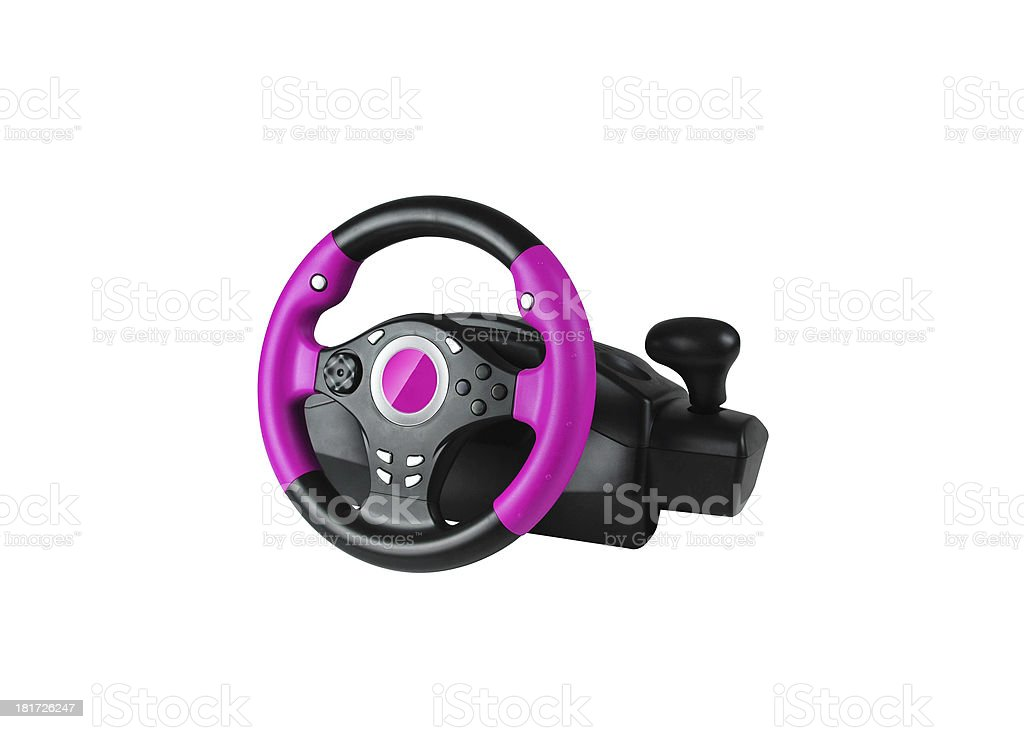 Computer steering wheel. Isolated on white. royalty-free stock photo