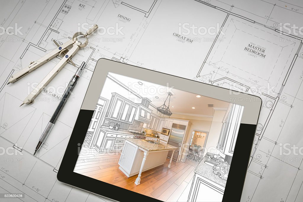 Computer Tablet Showing Kitchen Illustration On House Plans, Pen stock photo